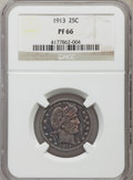 Proof Barber Quarters: , 1913 25C PR66 NGC. NGC Census: (38/20). PCGS Population (28/12). Mintage: 613. Numismedia Wsl. Price for problem free NGC/P...