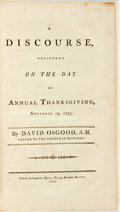 Books:Religion & Theology, Osgood, David: A DISCOURSE, DELIVERED ON THE DAY OF ANNUAL THANKSGIVING, NOVEMBER 19, 1795. Boston: 1795. 32pp, half...