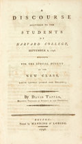 Books:Religion & Theology, Tappan, David: A DISCOURSE DELIVERED TO THE STUDENTS OF HARVARD COLLEGE, SEPTEMBER 6, 1796, DESIGNED FOR THE SPECIAL BEN...