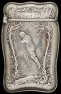 Silver Smalls:Match Safes, A WHITING SILVER MATCH SAFE, New York, New York, circa 1910. Marks:(W-griffin), STERLING, 5670. 2-1/4 inches high (5.7 ...