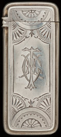 Silver Smalls:Match Safes, A WHITING SILVER MATCH SAFE, New York, New York, circa 1890. Marks:(W-griffin), STERLING, 10. 2-1/2 inches high (6.4 cm...