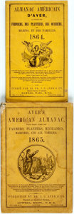 Books:Americana & American History, [Almanac]. Group of Two Ayer's American Almanacs (one inFrench), 1864, 1865. Lowell: J.C. Ayer, 1864-1865. Twel... (Total:2 Items)