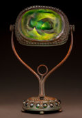 Art Glass:Tiffany , TIFFANY STUDIOS LEADED GLASS AND BRONZE TURTLEBACK TILELAMP. Circa 1910. Stamped TIFFANY STUDIOS, NEW YORK, 9...