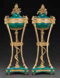 Decorative Arts, French:Other , A PAIR OF LOUIS XVI-STYLE MALACHITE AND GILT BRONZE MOUNTEDCASSOLETTES, 20th century. 26 inches high (66.0 cm). WEIDER HE...(Total: 2 Items)