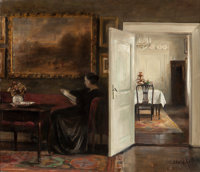 CARL VILHELM HOLSOE (Danish, 1863-1935) Reading on a Quiet Afternoon Oil on canvas 17 x 19-3/4 in