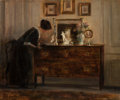 Fine Art - Painting, European:Antique  (Pre 1900), CARL VILHELM HOLSOE (Danish, 1863-1935). Tidying Up. Oil onpanel. 14-3/4 x 18 inches (37.5 x 45.7 cm). Signed lower rig...