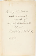 Books:Americana & American History, [Abolition]. [Wendell Phillips]. INSCRIBED. Speeches, Lectures,and Letters. Boston: Lee and Shepard, 1881. Seventh ...