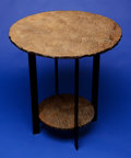 Lapidary Art:Tables / Tabletops, 'PETRIFIED BEACH SAND' TWO-TIER ROUND OCCASIONAL TABLE. Hartshorne Sandstone, Pennsylvanian Age, Haskell County, Oklahoma,...