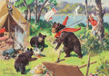 Mainstream Illustration, WALTER MARTIN BAUMHOFER (American, 1904-1987). Mama Bear andCubs Looting Campsite. Gouache on paper. 4.5 x 6.5 in. (sig...