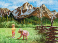 Mainstream Illustration, JAMES E SEWARD (American, 20th Century). Children PickingFlowers in a Valley. Gouache on board. 12 x 16 in.. Signedlow...