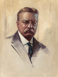 IRVING SINCLAIR (American, 1895-1969) Teddy Roosevelt Oil on canvas 24 x 18 in. Signed lower r