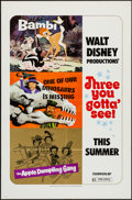 """Movie Posters:Animation, Bambi/One of Our Dinosaurs is Missing/The Apple Dumpling Gang Combo& Others Lot (Buena Vista, R-1975). One Sheets (3) (27"""" ...(Total: 5 Items)"""