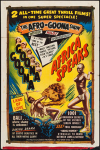 """Goona Goona/Africa Speaks! Combo (Classic Pictures, R-1950s). One Sheet (27"""" X 41""""). Documentary"""