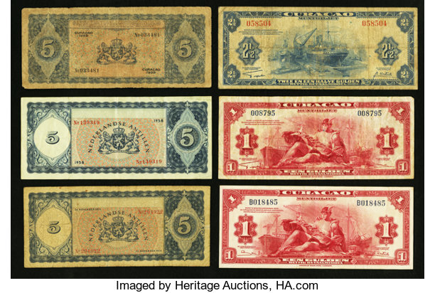 World Currency Curacao Total 6 Notes