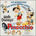 "Movie Posters:Animation, Pinocchio (Buena Vista, R-1962). Six Sheet (84"" X 85""). Animation.. ..."