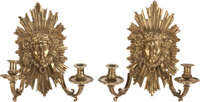 A PAIR OF GILT BRONZE TWO-LIGHT WALL SCONCES, 20th century 14 inches high (35.6 cm)