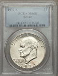 Eisenhower Dollars: , 1972-S $1 Silver MS68 PCGS. PCGS Population (1568/17). NGC Census: (402/5). Mintage: 2,193,056. Numismedia Wsl. Price for p...