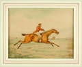 Books:Original Art, [Original Art]. Henry Alken (English artist, 1785-1851). OriginalInk and Watercolor of Horse and Rider Galloping in Fox Hunt....