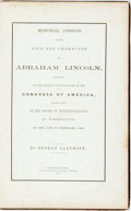Books:Americana & American History, [Slavery]. [Abraham Lincoln]. [George Bancroft]. MemorialAddress on the Life and Character of Abraham LincolnDelivered...