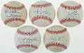 Autographs:Baseballs, Baseball Greats Single Signed Baseballs Lot Of 5 Including Mays....