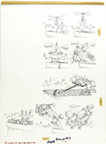"""Original Comic Art:Panel Pages, Don Martin - Mad Super Special #9 Page Original Art, Group of 4(EC, 1973). """"Don Martin Tries 8 New Ways to Fly,"""" in these i...(Total: 4 Items)"""