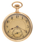 Timepieces:Pocket (post 1900), Swiss 14k Gold Open Face Pocket Watch. ...