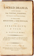 Books:Literature Pre-1900, Hannah More. Sacred Dramas, Chiefly Intended for YoungPersons...Philadelphia: Thomas Dobson, 1787. Twelvemo.Contem...