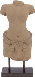 Asian:Other, AN ORIENTAL CARVED SANDSTONE FIGURE ON STAND. 22-1/2 x 11-1/2 x 6inches (57.2 x 29.2 x 15.2 cm). ...