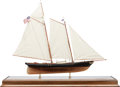 Maritime:Decorative Art, SHIP MODEL OF THE 'AMERICA'. A fine model, fully rigged andpresented in wood, metal and glass case, and table.. 33-1/4 x 38...