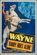 "Movie Posters:Western, Randy Rides Alone (Monogram, 1935). Stock One Sheet (27"" X 41""). Western.. ..."