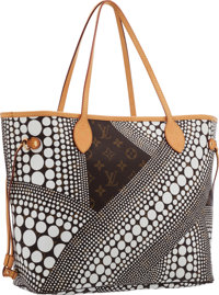 Louis Vuitton Limited Edition White Monogram Waves Neverfull MM Tote Bag by Yayoi Kusama Excellent Condition </...