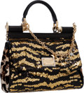 """Luxury Accessories:Bags, Dolce & Gabbana Black and Gold Sequin and Black LambskinLeather Mini Miss Sicily Bag . Pristine Condition . 8""""Width ..."""