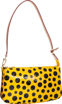 Louis Vuitton Limited Edition Yellow & Black Monogram Vernis Dots Infinity Pochette Bag by Yayoi Kusama Pristin