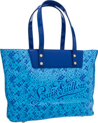 Louis Vuitton Limited Edition Blue Vinyl Cosmic Bloom Tote Bag by Takashi Murakami Excellent Condition<