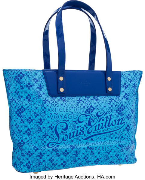 6c775f6584b2 Louis Vuitton Limited Edition Blue Vinyl Cosmic Bloom Tote Bag
