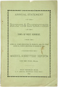 Books:Americana & American History, Annual Statement of the Receipts and Expenditures of the Town ofWest Newbury, et al. West Newbury, A. N. Ambrose, 1890....