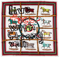"""Hermes by Comme Des Garcons 90cm Red & Black """"Live Free With Strong Will,"""" by Jacques Eudel Silk Scarf Pri..."""