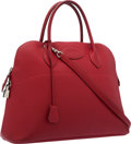 "Luxury Accessories:Bags, Hermes 37cm Rouge Garance Vache Liegee Leather Bolide Bag withPalladium Hardware. Very Good Condition. 14.5"" Width x..."