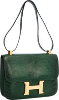 "Luxury Accessories:Bags, Hermes 23cm Vert Emerald Lizard Single Gusset Constance Bag withGold Hardware. Very Good to Excellent Condition. 9""W..."
