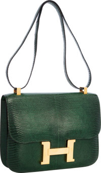 Hermes 23cm Vert Emerald Lizard Single Gusset Constance Bag with Gold Hardware Very Good to Excellent Condition