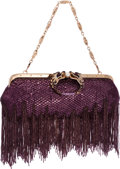 "Luxury Accessories:Bags, Gucci by Tom Ford Limited Edition Purple Sequin Fringe DragonClutch Bag. Excellent Condition. 13"" Width x 7"" Heightx..."