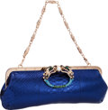 "Luxury Accessories:Bags, Gucci by Tom Ford Limited Edition Irridescent Blue Python DragonClutch Bag. Excellent Condition . 12"" Width x 6""Heig..."