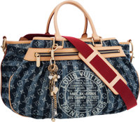 "Louis Vuitton Limited Edition Monogram Denim Cabas Raye Bag Excellent Condition 18"" Width x 12"" H"