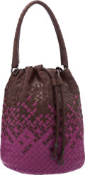 "Luxury Accessories:Bags, Bottega Veneta Violet & Brown Intrecciato Leather Bucket Bag.Excellent Condition. 8"" Width x 10.5"" Height x 8""Depth..."