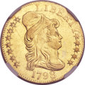 Early Half Eagles, 1798 $5 Large Eagle, Large 8, 13 Star Reverse AU53 NGC. BD-5, High R.5....