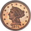 Patterns, 1871 $2 1/2 Quarter Eagle, Judd-1164, Pollock-1306, R.7, PR66 Red and Brown Cameo NGC....