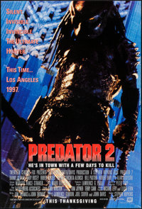 "Predator 2 (20th Century Fox, 1990). One Sheets (2) (27"" X 40"") DS Thanksgiving & Christmas Advance St..."