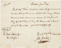 Autographs:Military Figures, [Revolutionary War]. Commodore Esek Hopkins Pay Order Signed....