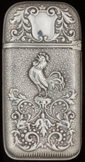 Silver Smalls:Match Safes, A WOOD & HUGHES SILVER MATCH SAFE, New York, New York, circa1900. Marks: W & H, STERLING, 416. 2-1/2 inches high(6.4 c...