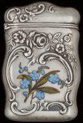 Silver Smalls:Match Safes, A REED & BARTON SILVER AND ENAMEL MATCH SAFE, Taunton,Massachusetts, circa 1900. Marks: (eagle-R-lion), STERLING,40B. ...